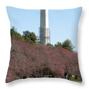 Washington Monument Reflected In Tidal Basin And Surrounded By P Throw Pillow