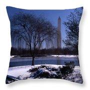 Washington Monument Winter  Throw Pillow