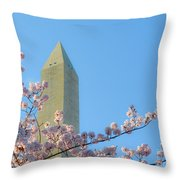 Washington Monument With Blossoms Throw Pillow