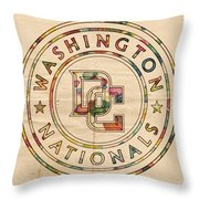 Washington Nationals Poster Vintage Throw Pillow