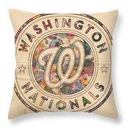 Washington Nationals Vintage Art Throw Pillow