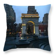 Washington Square In New York At Dusk Throw Pillow