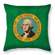 Washington State Flag Art On Worn Canvas Throw Pillow