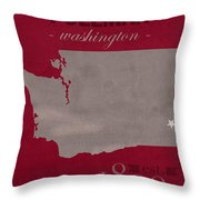 Washington State University Cougars Pullman College Town State Map Poster Series No 123 Throw Pillow
