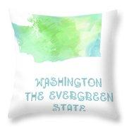 Washington - The Evergreen State - Map - State Phrase - Geology Throw Pillow