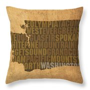 Washington Word Art State Map On Canvas Throw Pillow