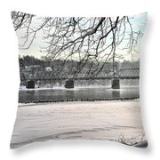Washingtons Crossing Winter Throw Pillow
