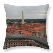 Washintgon Monument From The Tower Of The Old Post Office Tower Throw Pillow