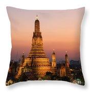 Wat Arun At Sunset - Bangkok Throw Pillow
