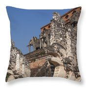 Wat Chedi Luang Phra Chedi Luang Five-headed Naga And Elephants Dthcm0055 Throw Pillow