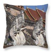 Wat Chedi Luang Phra Chedi Luang Five-headed Naga Dthcm0052 Throw Pillow