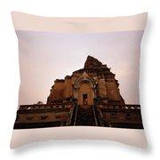 Wat Chedi Luang Sunset Throw Pillow