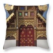 Wat Duang Dee Phra Ubosot Door  Dthcm0297 Throw Pillow