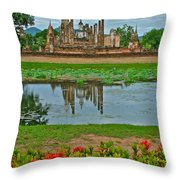 Wat Mahathat In13th Century Sukhothai Historical Park-thailand Throw Pillow