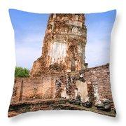 Wat Mahathat Temple In Ayutthaya Throw Pillow
