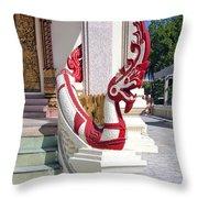 Wat Mahawanaram Ubosot Stair Naga Dthu656 Throw Pillow