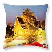 Wat Mai Temple And Night Market - Luang Prabang - Laos Throw Pillow