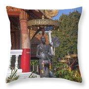 Wat Phuak Hong Phra Wihan Monk Figure Dthcm0579 Throw Pillow