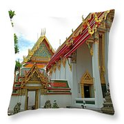 Wat Po In Bangkok-thailand Throw Pillow