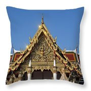 Wat Ratchaburana Ratchaworawiharn Ubosot Gable Dthb986 Throw Pillow