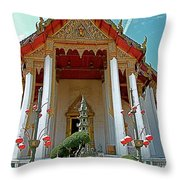 Wat Suthat In Bangkok-thailand Throw Pillow