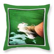 Watauga Lake Crystal Green Throw Pillow