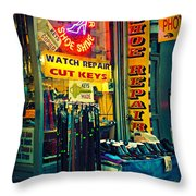 Watch Repair Shop - Keys Made Here Throw Pillow