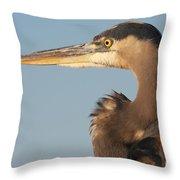 Watchful Heron Throw Pillow