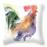 Watchful Rooster Throw Pillow