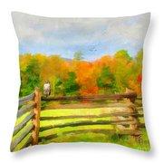 Watching Autumn Throw Pillow