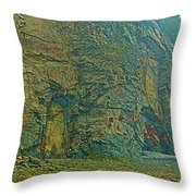 Watching Climbers From Ocean Floor At Cape Enrage-nb Throw Pillow