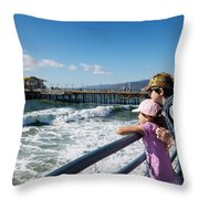 Watching From The Pier Throw Pillow