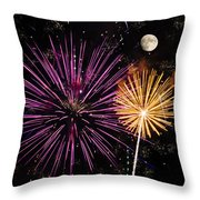 Watching Pink And Gold Explosion - Fireworks And Moon II Throw Pillow