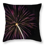Watching Pink And Gold Explosion - Fireworks And Moon I  Throw Pillow