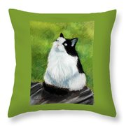 Watching The Birds Throw Pillow by Lenore Gaudet