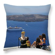 Watching The View In Santorini Island Throw Pillow