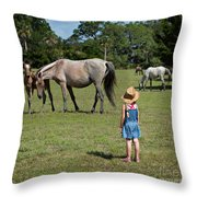 Watching The Wild Horses Throw Pillow