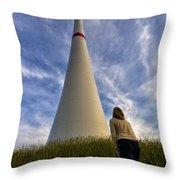 Watching Wind Power Throw Pillow