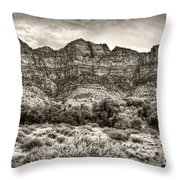 Watchman Trail In Sepia - Zion Throw Pillow