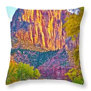 Watchman's Peak In Zion National Park-utah Throw Pillow