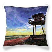 Watchtower On The Beach Throw Pillow