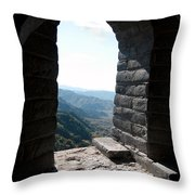 Watchtower Window View From The Great Wall 637 Throw Pillow