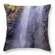 Watefall At The Mountains Throw Pillow
