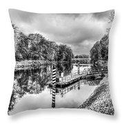 Water Bus Stop Bute Park Cardiff Mono Throw Pillow