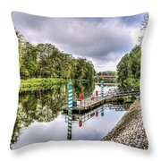 Water Bus Stop Bute Park Cardiff Throw Pillow