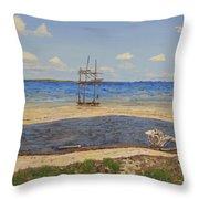 Water Cay Beach Grand Cayman Throw Pillow