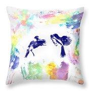 Water Color Bird Fight Throw Pillow