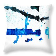 Water Dance - Blue And White Art By Sharon Cummings Throw Pillow