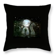Water Dragon And Moon Throw Pillow