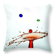 Water Droplets Collision Liquid Art 13 Throw Pillow